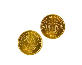 Limited Time Offer Seychelles Coin Cufflinks - Men's Jewelry - Handmade - Gift Box Included