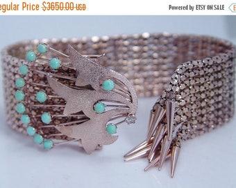 ON SALE Antique Vintage Jewelry 14K Rose Gold Turqouise Diamond Tassel Mesh Bracelet