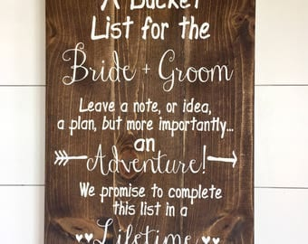 Large Wood Sign - A Bucket List for the BRIDE and GROOM- Subway Sign - Farmhouse Sign