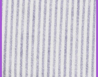 ON SALE Lavender and White Cotton FLANNEL Fabric Stripes