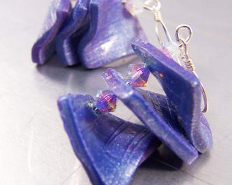 Shimmering Blue Polymer Clay Earrings Sterling Silver