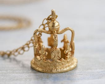 Your Royal Highness Necklace - Golden Crown Pendant on Long Chain