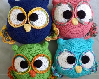 Made to order, Hand Crocheted OWL Pillow Doll You choose the colors, pink, blue, green, purple, multi etc.. One Pillow
