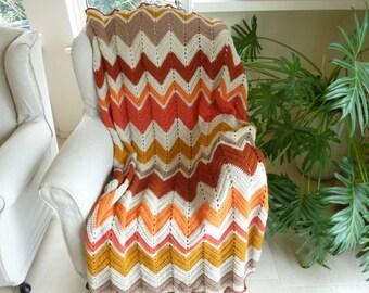 Chevron blanket crochet blanket crochet afghan crochet throw crochet chevron blanket crochet striped blanket afghan blanket bedding blanket