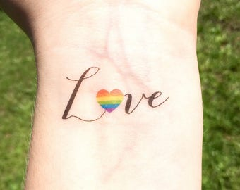 Gay Pride Temporary Tattoo - Gay Wedding Gift - Love is Love - Love Wins - Gay Marriage - LGBT - Gay Couples -  Lesbian Wedding - Gay Rights