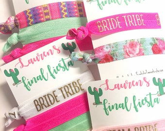 Hair Tie Favor, Bachelorette Party Favor Final Fiesta - Bachelorette lets fiesta, fiesta cactus - mexico bachelorette party - Bachelorette