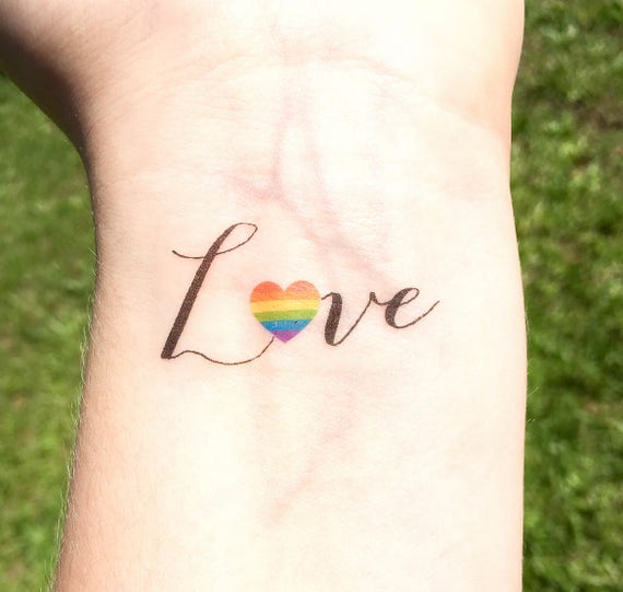 gay pride temporary tattoo gay wedding gift love is love. Black Bedroom Furniture Sets. Home Design Ideas