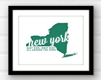 New York print | New York state art | New York wall art | New York poster | New York City | Albany, NY | Buffalo,NY | Rochester, NY