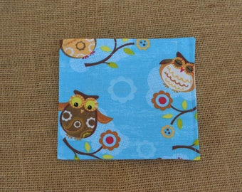 Reusable Snack Bag, Snack Bag, Reusable Bag, Snack Pouch, Environmentally Friendly, Food Safe Fabric, Food Safe Bag, Washable Bag, Blue Owls