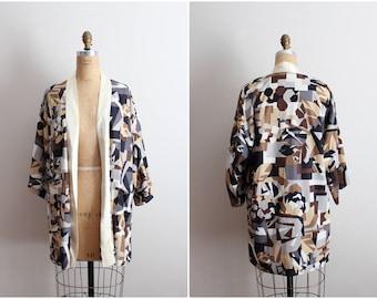 Mod Boho Kimono Cardigan / Asian Kimono Robe / Oversized Cardigan / One Size