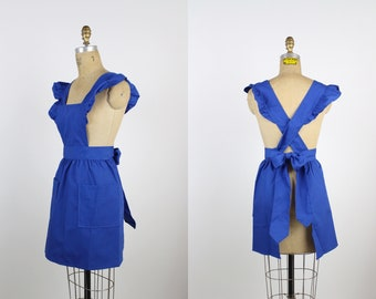 Vintage Royal Blue Apron / Ruffles Apron / Apron for Women / Cross back Apron /