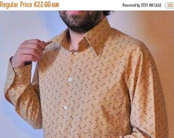 50%DISCOUNT 80s tan brown graphic geometric printed men shirt M