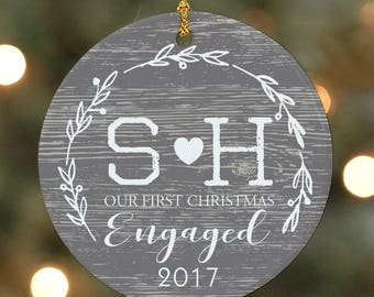 Initial First Christmas Engaged Personalized Ornament, christmas ornament, christmas decor, engagement gift, heart, couple -gfyU1204110