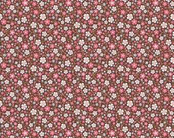 04502- Riley Blake Cowgirl collection C5639 Floral in brown color- 1/2 yard -  half yard