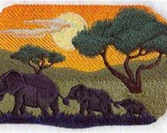 RESERVED for vmshan1969 - Sundown Safari Elephant Herd Embroidered Throw Blanket