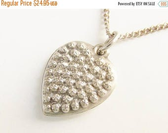 ON SALE Sterling Steel Cut Puff Heart Charm Pendant Necklace