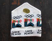 Vintage 1980 Olympics Knit Hat Lake Placid NOS Winter Cap White New York