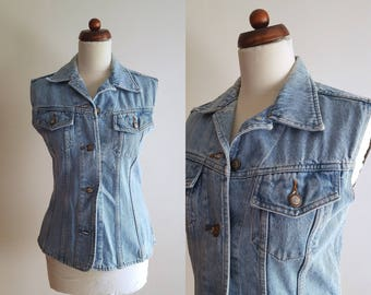 Vintage Denim Vest - 1990's Button Up Vest - Grunge Vest - Light Blue - Size S