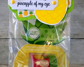 Pineapple Washi Tape Gift Bag with Topper, Stamped