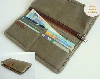 Womens bifold wallet / khaki travel wallet/ Phone wallet /minimalist wallet