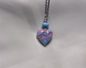 Blue and Pink Swirls Heart Lampwork Bead Pendant Necklace
