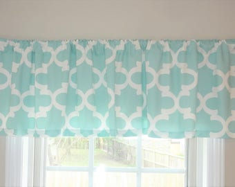 Curtain Valance Topper Window Treatment 52x15 Canal White Fynn Moroccan Geometric Valance Home Decor by HomeLiving