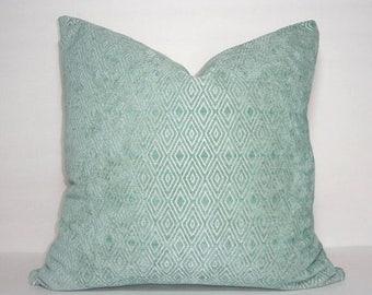 SPRING FORWARD SALE Spa Blue Textured Velvet Diamond Design Seafoam Blue Couch Throw Pillow Cover Size 18x18