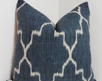 SPRING FORWARD SALE Navy Blue Ikat Geometric Morrocan Pillow Cover Decorative Throw Pillow 18x18