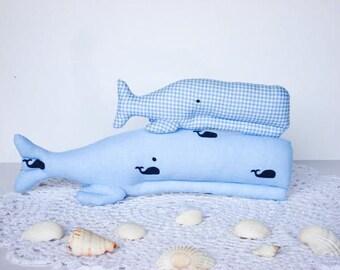 Stuffed whale toy plush softie blue whales nautical aquatic child friendly toys baby shower gift idea nursery decor