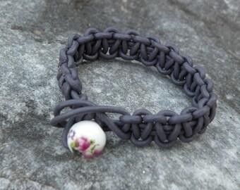 lilac genuine leather bracelet braided