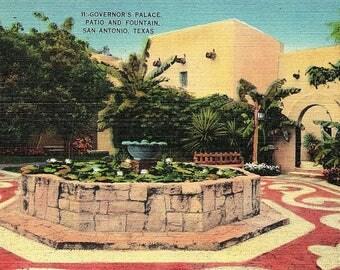 San Antonio, Texas, Governor's Palace, Patio, Fountain - Vintage Postcard - Postcard - Unused (J)