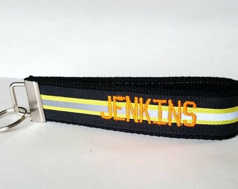 Like Bunker Gear Black and Yellow Name Key Fob