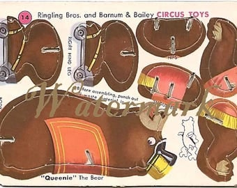 Vintage Ringling Bros and Barnum & Bailey Circus Toy Cut out Digital Download Printable Image for DIY Queenie Bear