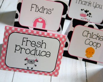 Farm Birthday Party Personalized Printed Food Labels Tent Cards - Placecards - Girl Farm Party Decorations - Pink and Black - Set of 8