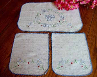 Antimacassar Set of Three Doilies Pale Grey with Floral Embroidery Vintage Doilies
