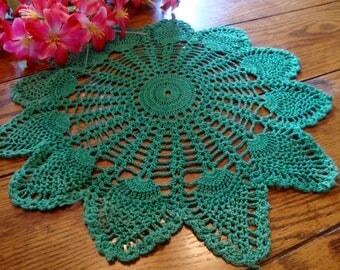 Green Crochet Doily Lace Centerpiece Doily Vintage Table Linens