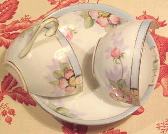 Antique Nippon Handpainted Teacup And Saucer...Salvage AS IS