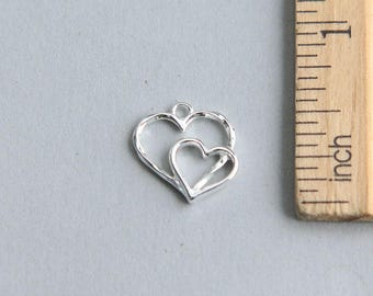 Heart Charm, Double Heart Charm, 925 Sterling Silver Charm, Heart Charm, Sterling Silver Heart Charm, Silver Heart Charm, 14mm ( 1 piece )