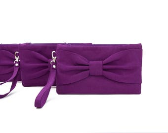 Bow wristlet clutch,bridesmaid  clutch gift ,wedding gift ,plum purple clutch,evening clutch