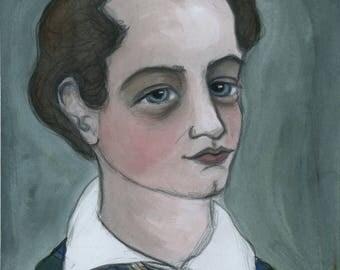 Lord Byron Art Print, Literary Portrait, (6x8) Romantic Poetry, 19th Century Poet
