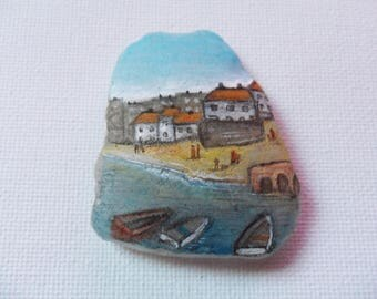 Reserved for BEV St Ives cornwall - Original miniature painting on English sea glass
