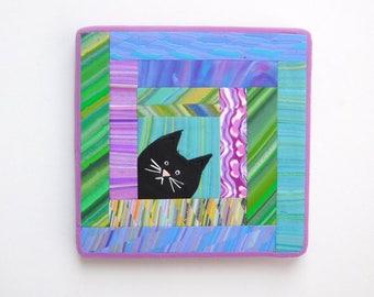Cat Quilt, polymer clay refrigerator magnet