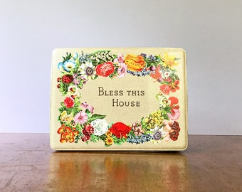 "Vintage Tin Box Faux Embroidery Sayings / Floral ""Bless This House"""