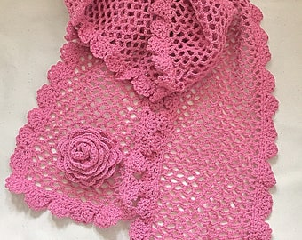 Knited Scarf  crochet scarf crocheted   scarf neck warmer  mauve