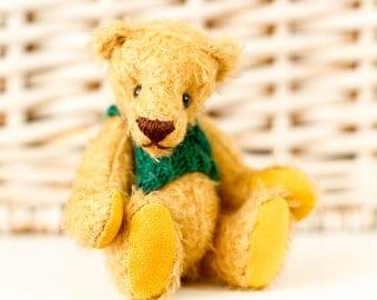 Cute GOLDEN Teddy Bear GEORGE - Handmade Artist OOAK Mohair Teddy Bear with green vest - Miniature Bear - Unique gift for Her - Valentines