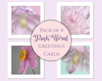 Photo Cards, Pink Flower Greeting Cards, Birthday Card Pack, Flower Note Cards, Floral Cards, Flower Birthday Cards, Photographic Cards