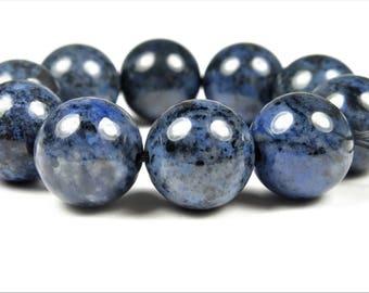 Denim Blue Dumortierite Round Bead - 12.7~12.8mm - 10 beads - B7607