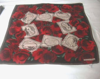 Christian Dior Red Roses Romantic French Sentiment Must See Motif Silk Scarf