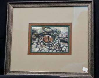 Original Alligator Eye Watercolor Painting