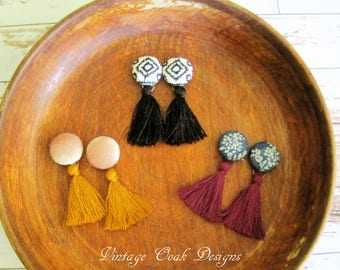 Tassel earrings ///Tassel studs /// Fringe Earrings /// Fringe Studs /// Christmas Gift Ideas /// Gift under 15